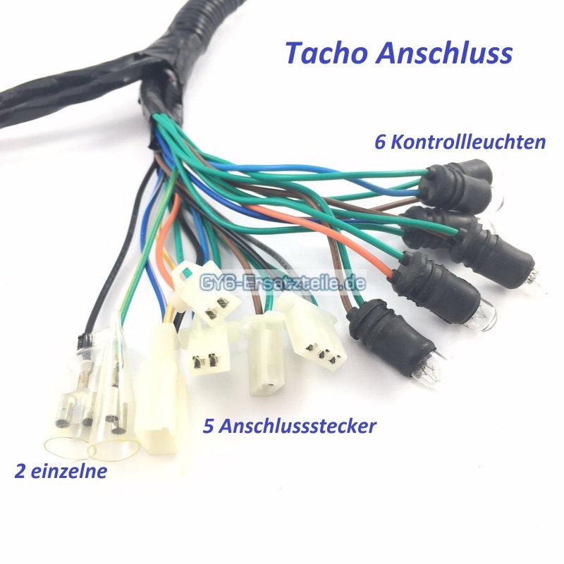 tachometer kabelbaum komplett f r 4 takt china roller. Black Bedroom Furniture Sets. Home Design Ideas